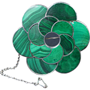 Antique Victorian LARGE Scottish Malachite Sterling Silver Brooch LOVELY Quality Circa 1880