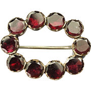 Georgian Foiled Garnet Lace Pin Fichu Brooch 9 Kt Gold Circa 1810