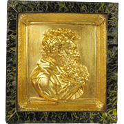 William IV Gilt Relief Plaque In Reverse Painted Faux Marble Frame Circa 1830
