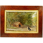 SOLD Antique Dog Puppy Oil Painting Little Midge Signed and Dated 1907