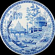 SALE Georgian Spode Blue and White Transferware Rome Tiber Pattern Plate Circa 1815