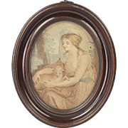 Georgian Circa 1790 Miniature Stipple Engraving After Angelica Kauffman