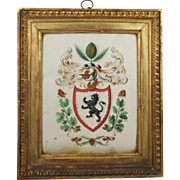 Georgian Armorial Watercolor Painting Stunning Frame English Circa 1790