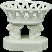 Antique French Miniature Porcelain Salt Unusual Winged Lion 1850s