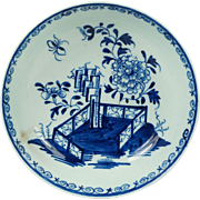 Antique 1700s Lowestoft Porcelain Plate Blue and White Hollow Rock Fence Peony Pattern English