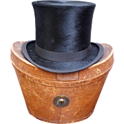 Victorian Scottish Silk Plush Top Hat Original Leather Fitted Case A & J Scott Aberdeen C ...