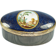 Antique 18th Century French Porcelain Snuff Box Circa 1760 Make Do Horn Repair