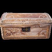 Antique Hide Trunk Domed Original Makers Label English Circa 1815 Georgian