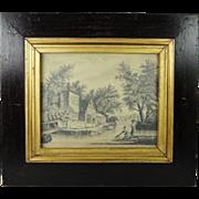 FINE Antique Georgian Pencil Drawing Circa 1820 English Signed Miss Jane Ogilvy After Constabl