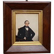 Early 19th Century Folk Art Portrait Victorian Gentleman Circa 1840s