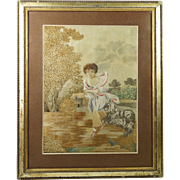 Antique Georgian Silkwork Embroidery Child and Bichon Frise Dog Super Condition Circa 1790