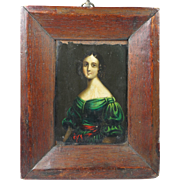 Early 19th Century Folk Art Miniature Oil Portrait on Tin Circa 1830 Lovely Frame