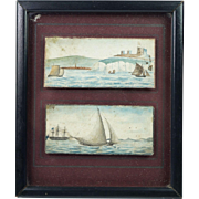 Georgian Miniature Folk Art Painting Maritime English Scenes Dover Castle Kent Circa 1810 ...