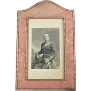 Antique English 19th Century Photograph Frame Pink Silk Made By Walter Jones London ...