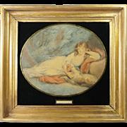 SALE PENDING Georgian Stipple Engraving Dog Fidelity Eglomise Frame Circa 1810