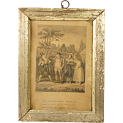 Antique Georgian Satirical Etching By Robert Cruikshank Lovely Miniature Pale Gold Frame Dated