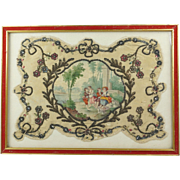 Georgian Face Screen Hand Painted Silk Rococo Scene With Dog Jewelled Spangles Framed French .
