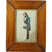 Antique 1830 Miniature Watercolor Portrait English Signed Dated Robert Johnson 1830