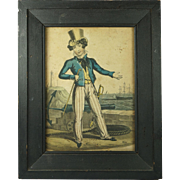 Antique Georgian Naive Hand Coloured Naval Satire Britain's Pride Orlando Hodgson Circa 1820 N