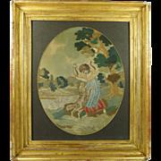 Georgian Silkwork Embroidery Dog and Child After Sir Joshua Reynolds Circa 1790