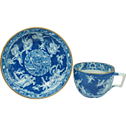 Georgian Spode Blue and White Transferware Cup and Saucer Greek Mythology Love Chase Pattern .