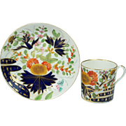 Antique Coalport Porcelain Coffee Can And Saucer Thumb And Finger Pattern English Circa 1810