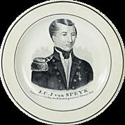19th Century Wedgwood Commemorative Creamware Plate J C J Van Speyk Speijk 1831 Dutch Naval ..