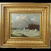 Antique 19th Century Oil Painting On Board Seascape Dutch School Circa 1870 STUNNING Frame