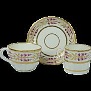 Georgian Coalport Porcelain Trio Hamilton Flute Cup Coffee Can Saucer Pattern 327 Circa 1790