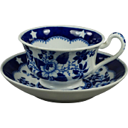 Georgian Blue and White Transferware Cup and Saucer Hilditch And Son Bird And Stars Pattern ..