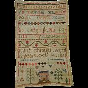 Antique Victorian 1842 Needlework Sampler Judith Christian Isle Of Man Great Britain