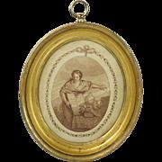 Georgian Miniature Sepia Stipple Engraving Allegorical Lemon Gilt Frame After Bartolozzi ...