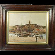 Antique English Watercolour Coastal Landscape Monogram And Dated L.B.B Nov 1913 Teignmouth
