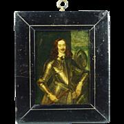 Georgian Reverse Print On Glass Edward Somerset 2nd Marquis Of Worcester Circa 1820s