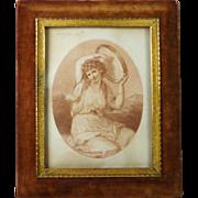 Georgian 1783 Bartolozzi Kauffmann Sanguine Stipple Engraving A Bacchante 19th Century Elliott