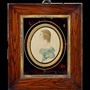 Regency Portrait Miniature Watercolour Faux Effect Tortoiseshell Mount Circa 1815