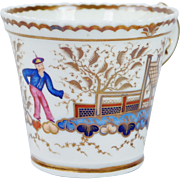 Circa 1820 Chamberlain Worcester Porcelain Cup Chinese Figure Pattern 767 English Regency Era