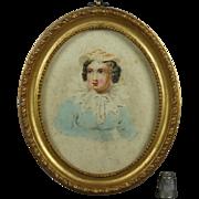Regency Circa 1820 Miniature Watercolor Portrait Lady Oval Gilt Frame English School