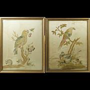 18th Century Silkwork Needlework Pair Rare Parrot Mouse and Ducks English Georgian Circa 1790