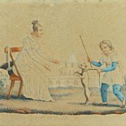 Antique Georgian Pair Miniature French Engravings Child And Dog Circa 1820