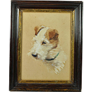 Antique Jack Russell Dog Watercolor Portrait Signed Evelyn Lina Beckles British Artist Born ..