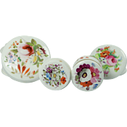 Georgian Collection Four Miniature Coalport and Derby Hand Painted English Porcelain Rouge or