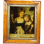 Antique 18th Century Reverse Painted Mezzotint Under Glass George Prince of Wales and Prince .