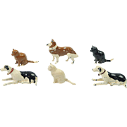 Vintage TEENY Britains Lead Animal Figures X 6 Cats And Dogs Home Farm Series Circa ...