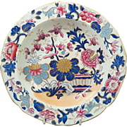 Antique Circa 1813 Mason's Ironstone Soup Dish Plate Japan Pattern Gilded Japan Basket