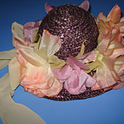Vintage Purple Doll Hat With Flowers