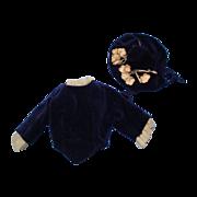Blue Velvet Doll Bodice & Bonnet