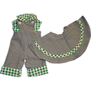 Sweet 3 Piece Doll Outfit - Overalls, Shirt, & Skirt
