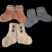 SOLD 3 Pairs of Vintage Doll Socks