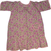 Vintage Purple Print Doll Dress - Fits a Larger Doll